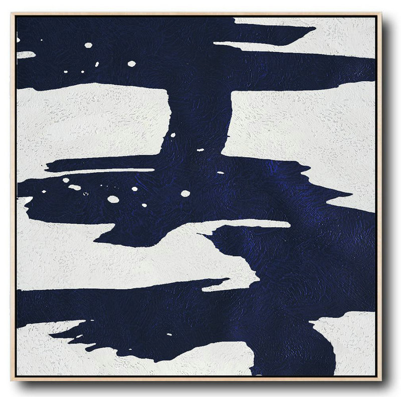Minimalist Navy Blue And White Painting,Modern Abstract Wall Art #P7H9