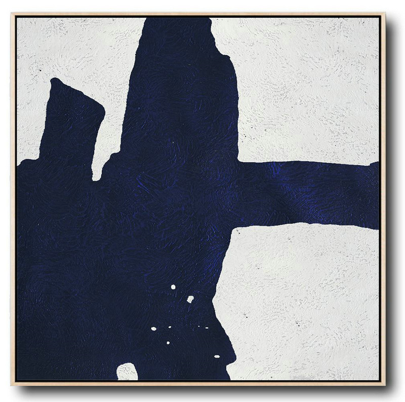 Minimalist Navy Blue And White Painting,Giant Canvas Wall Art #M2T6