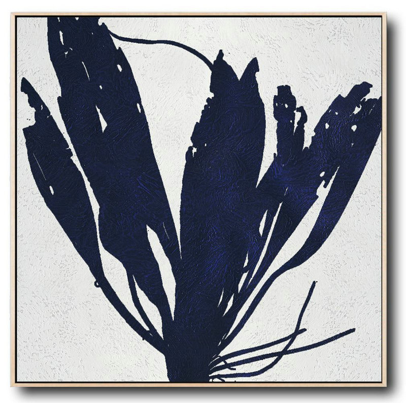Minimalist Navy Blue And White Painting,Huge Abstract Canvas Art #R1M5