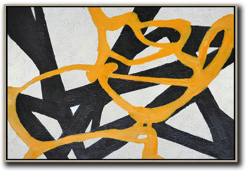 Hand-Painted Oversized Horizontal Minimal Art On Canvas,Contemporary Art Canvas Painting #T3J9