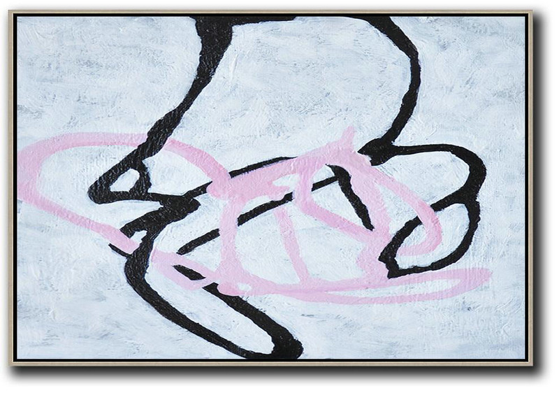 Hand-Painted Oversized Horizontal Minimal Art On Canvas,Contemporary Art Canvas Painting #V5N6