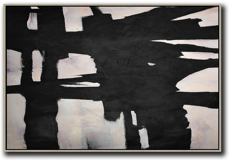Hand-Painted Oversized Horizontal Minimal Art On Canvas,Canvas Wall Art #Y1K8