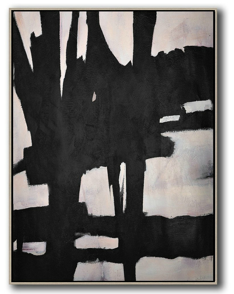 Hand-Painted Black And White Minimal Painting On Canvas,Canvas Wall Art Home Decor #H1Z8