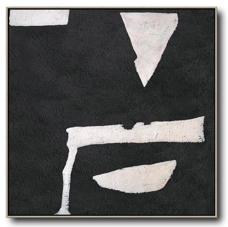 Hand-Painted Oversized Minimal Black And White Painting,Unique Canvas Art #O1X2