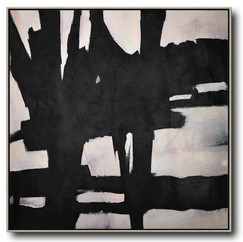 Hand-Painted Oversized Minimal Black And White Painting,Canvas Wall Paintings #H7S0
