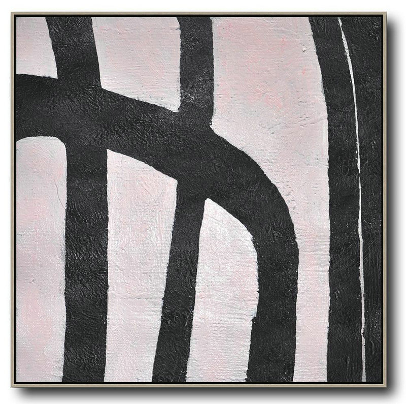 Hand-Painted Oversized Minimal Black And White Painting,Abstract Painting On Canvas #A9Z3