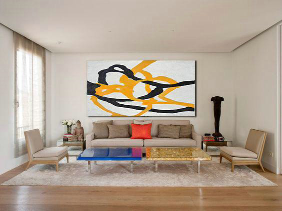 Hand-Painted Oversized Panoramic Minimal Art On Canvas,Contemporary Wall Art #P5N5