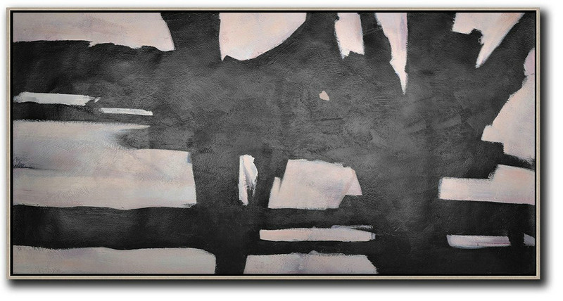 Hand-Painted Oversized Horizontal Minimal Art On Canvas,Extra Large Canvas Painting #V0Y7