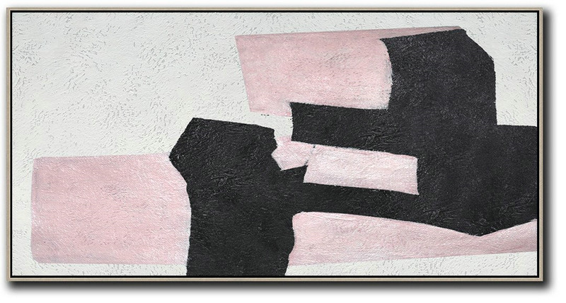 Hand-Painted Oversized Horizontal Minimal Art On Canvas,Large Canvas Art #B1G9
