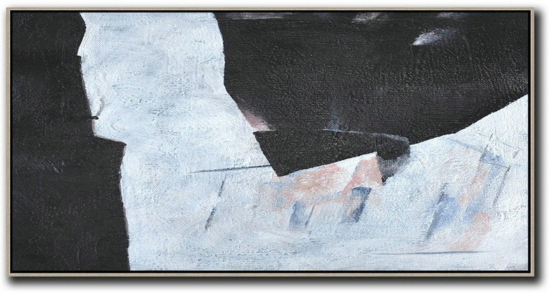 Hand-Painted Oversized Panoramic Minimal Art On Canvas,Acrylic Minimailist Painting #Y1L9