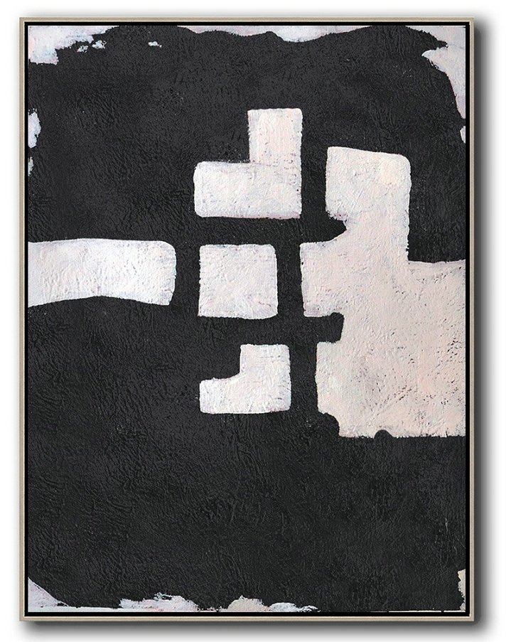 Hand-Painted Black And White Minimal Painting On Canvas,Acrylic Painting Canvas Art #Z0T7