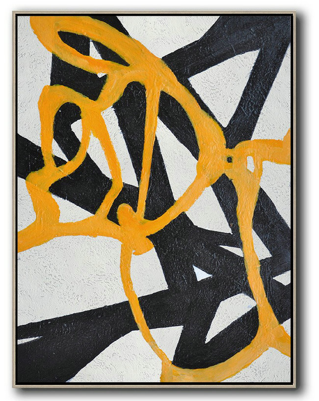 Hand-Painted Black And White Minimal Painting On Canvas,Extra Large Artwork #G3I2