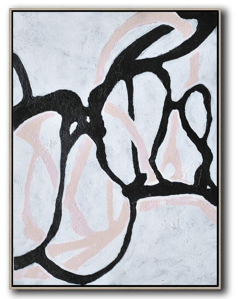 Hand-Painted Black And White Minimal Painting On Canvas,Hand Paint Abstract Painting #C1C0