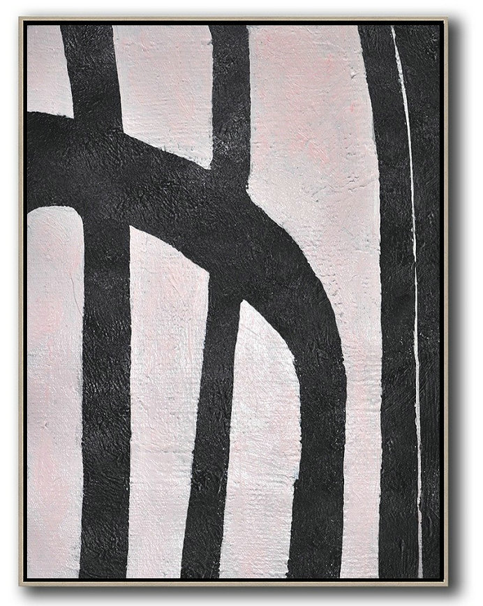 Hand-Painted Black And White Minimal Painting On Canvas,Abstract Art Decor Large Canvas Painting #B5B8