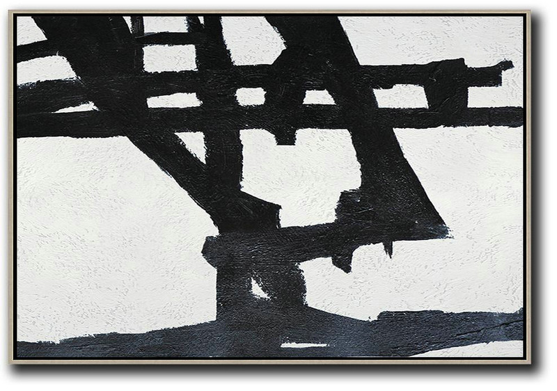 Hand Painted Oversized Horizontal Minimal Art On Canvas, Black And White Minimalist Painting,Huge Abstract Canvas Art #N9V2