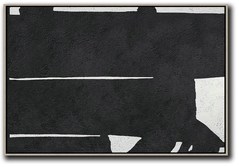 Hand Painted Oversized Horizontal Minimal Art On Canvas, Black And White Minimalist Painting,Huge Wall Decor #H1J4