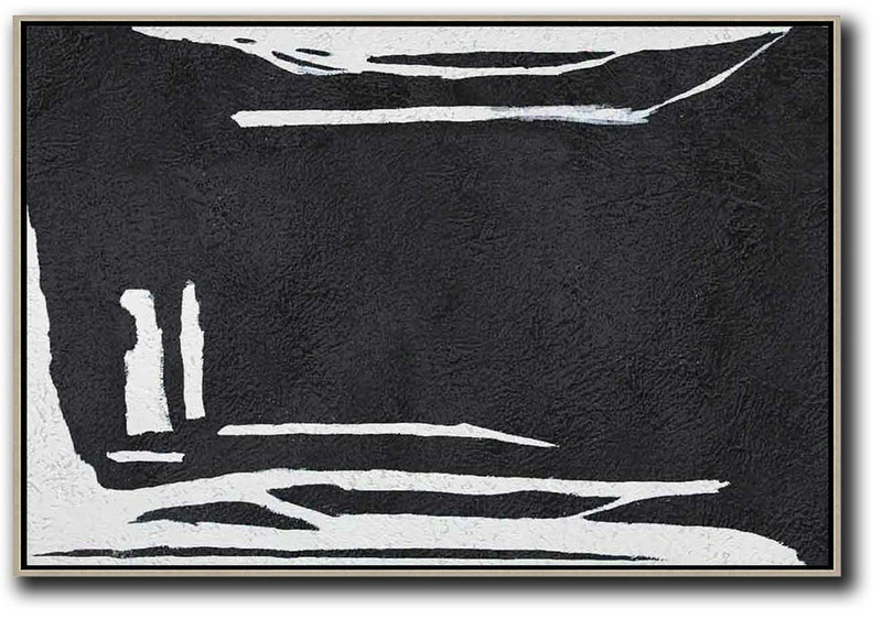 Hand Painted Oversized Horizontal Minimal Art On Canvas, Black And White Minimalist Painting,Modern Living Room Decor #L9W6