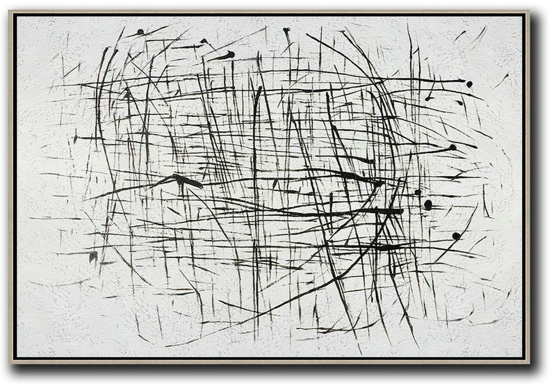 Oversized Horizontal Minimal Art On Canvas,Contemporary Art Canvas Painting #K0B9