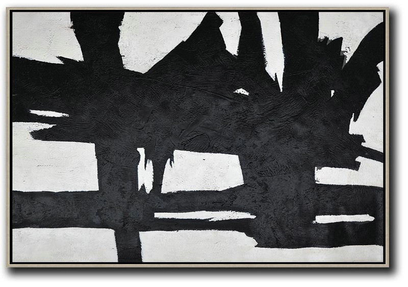 Hand Painted Oversized Horizontal Minimal Art On Canvas, Black And White Minimalist Painting,Abstract Oil Painting #C9C6