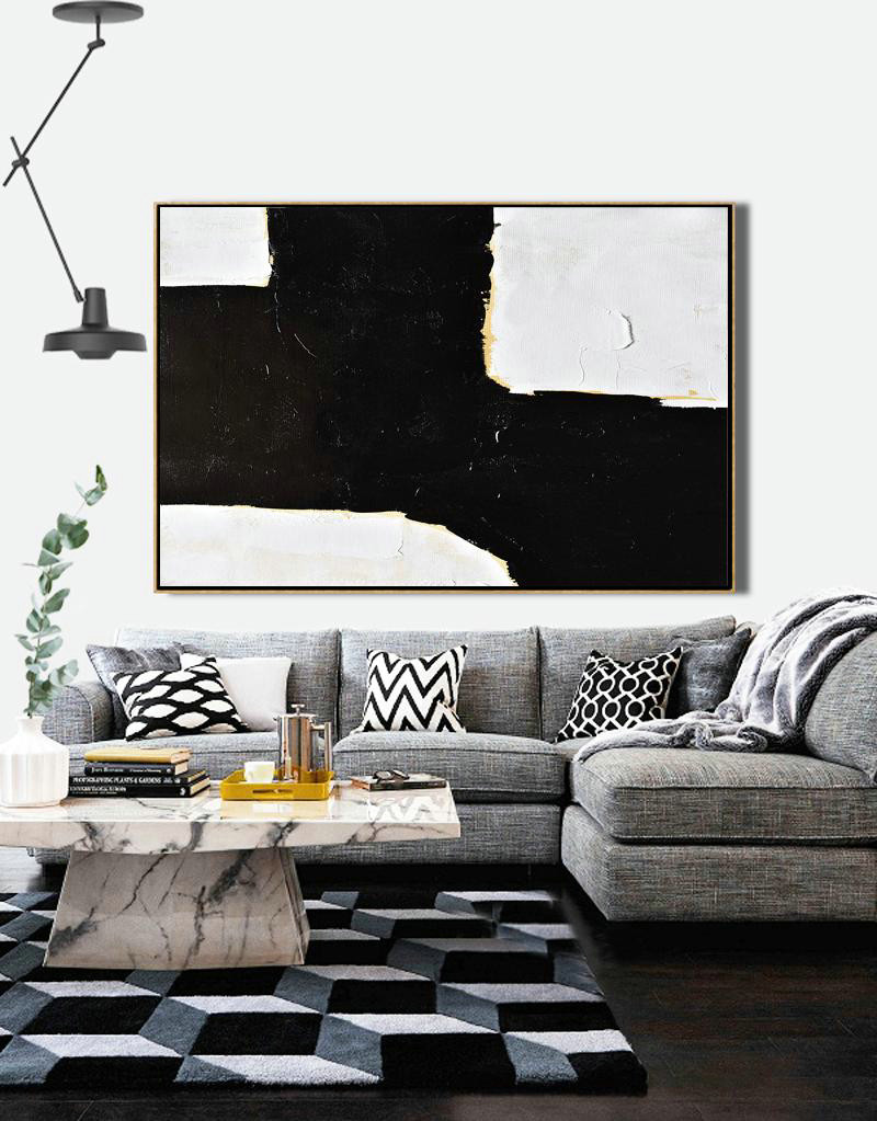 Horizontal Palette Knife Minimal Canvas Art Painting Black White Beige,Large Wall Art Canvas #E8E0