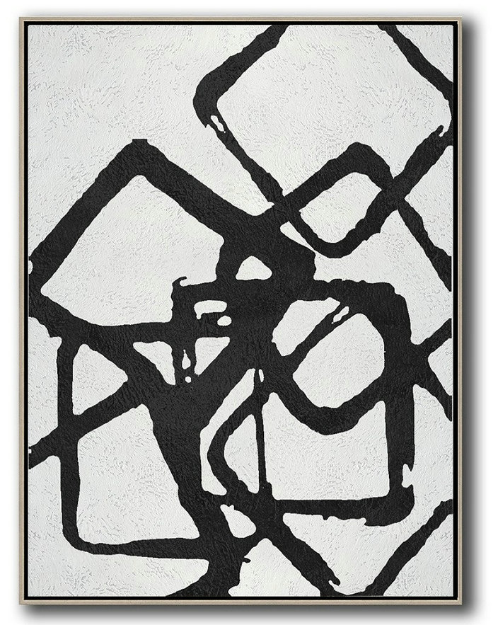 Black And White Geometric Art Minimal Painting On Canvas,Modern Canvas Art #X9N6