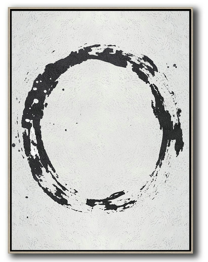 Geometric Art Black And White Minimal Painting On Canvas,Wall Art Painting #V8K2