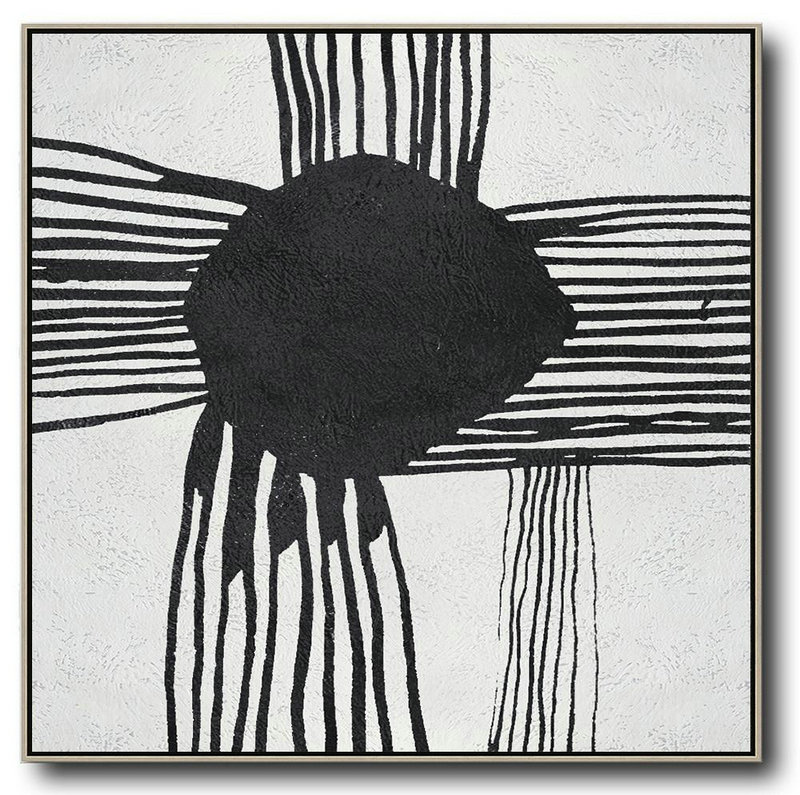 Oversized Minimal Black And White Painting,Art Work #K5A9