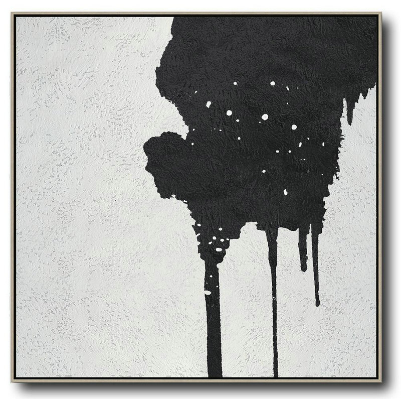 Oversized Minimal Black And White Painting,Canvas Wall Paintings #K3A8