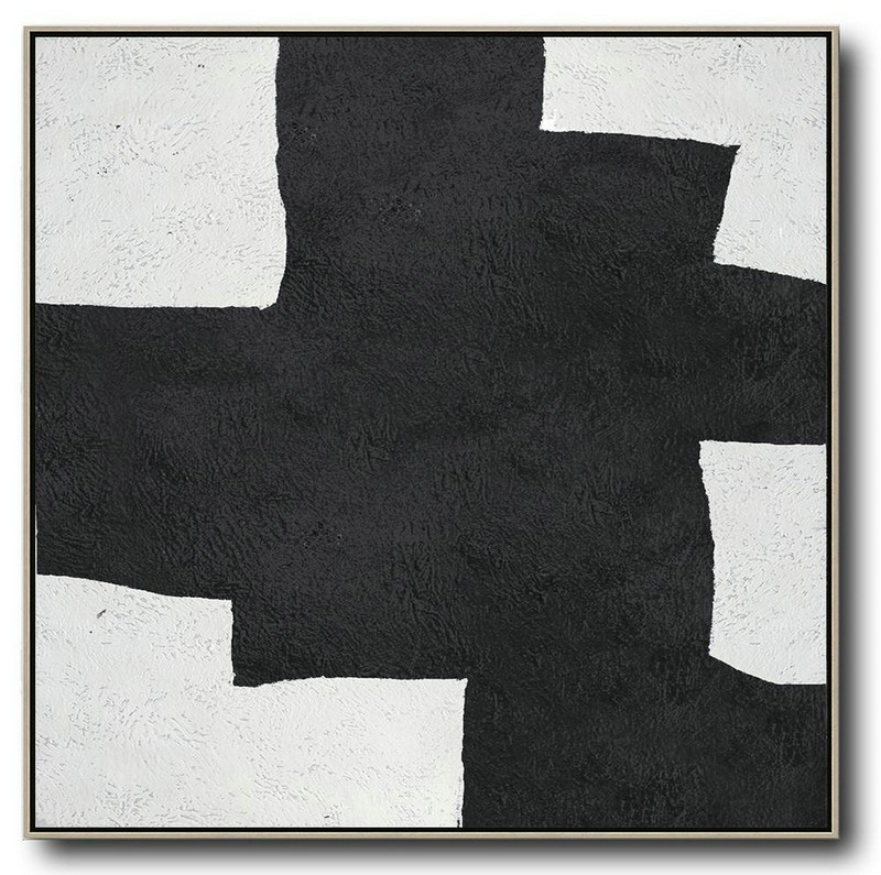 Oversized Minimal Black And White Painting,Modern Paintings #H6V6