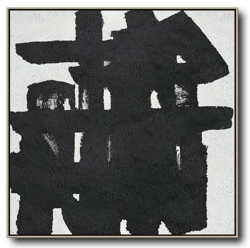 Oversized Minimal Black And White Painting,Modern Art #A5Z6