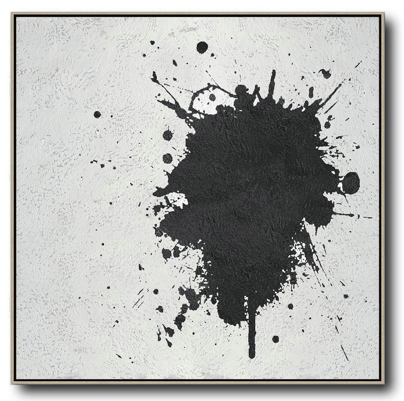 Oversized Minimal Black And White Painting,Large Abstract Wall Art #X4P5