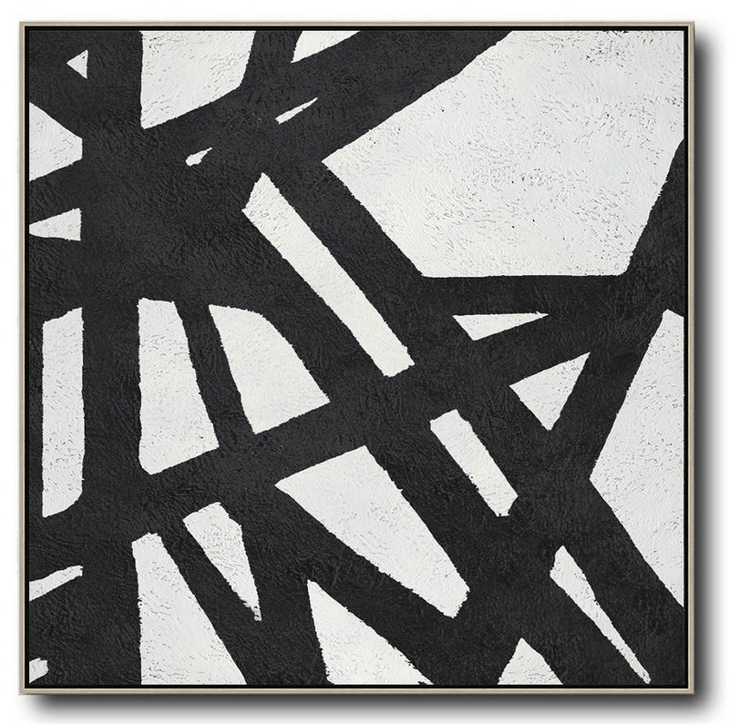 Oversized Minimal Black And White Painting,Contemporary Art Acrylic Painting #W6Q0