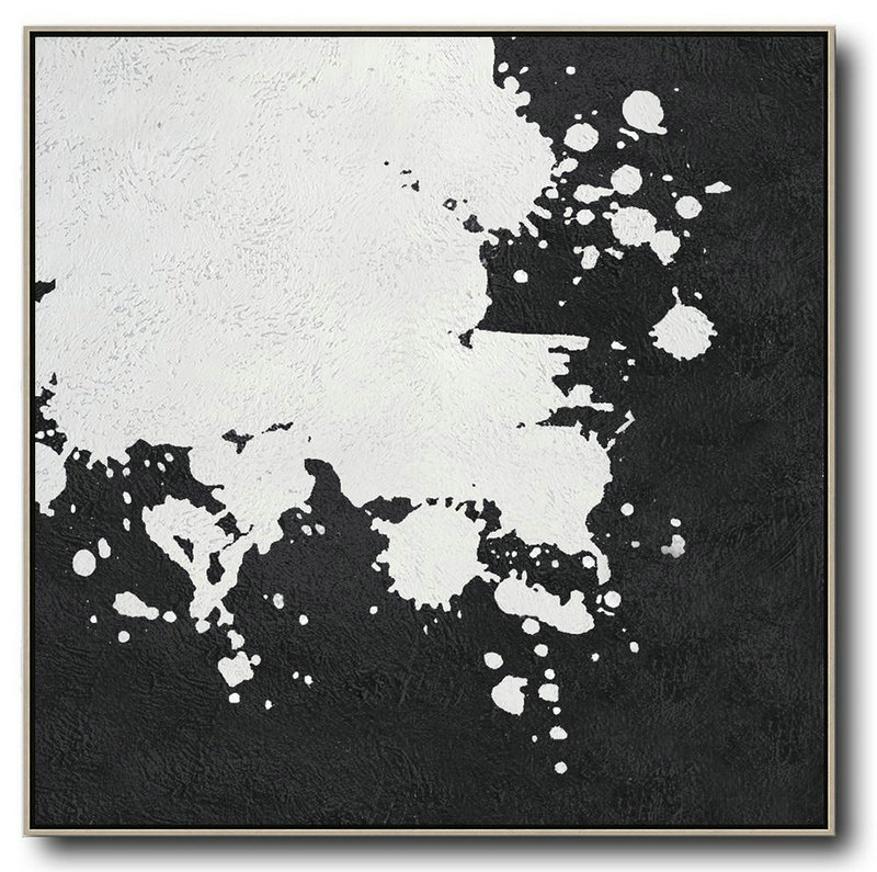 Oversized Minimal Black And White Painting,Modern Paintings #N8F3
