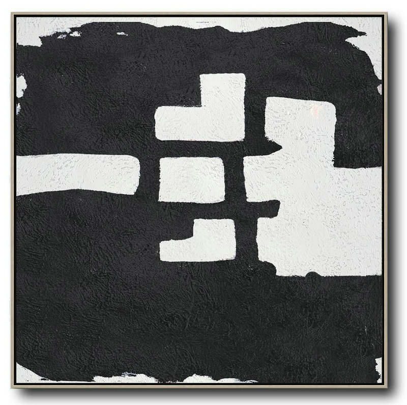 Oversized Minimal Black And White Painting,Large Abstract Wall Art #D0L3