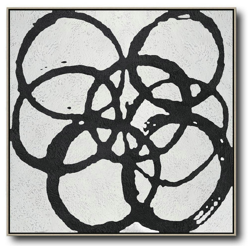 Oversized Minimal Black And White Painting,Modern Canvas Art #L3K1