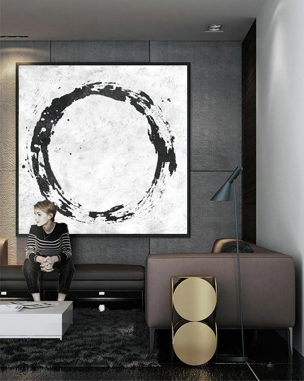 Oversized Minimal Black And White Painting,Canvas Artwork For Living Room #O4Z9