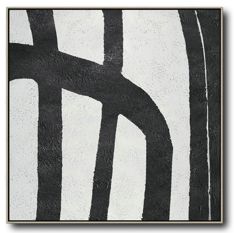 Oversized Minimal Black And White Painting,Home Canvas Wall Art #M0D2