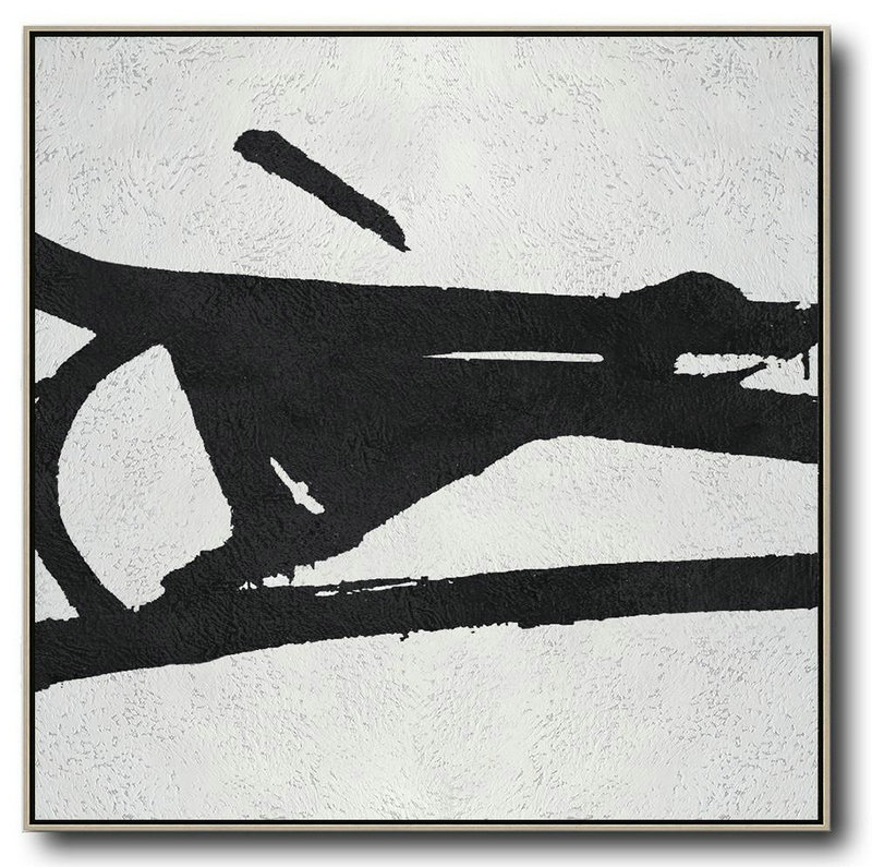 Oversized Minimal Black And White Painting,Big Wall Art For Living Room #Y5Y1