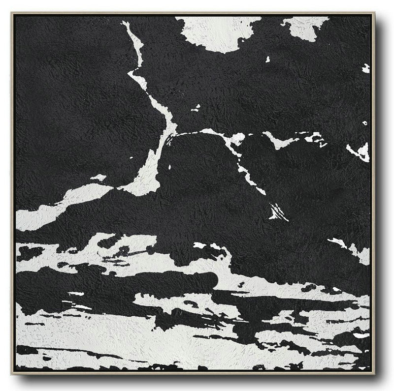 Oversized Minimal Black And White Painting,Bedroom Wall Decor #M1M2