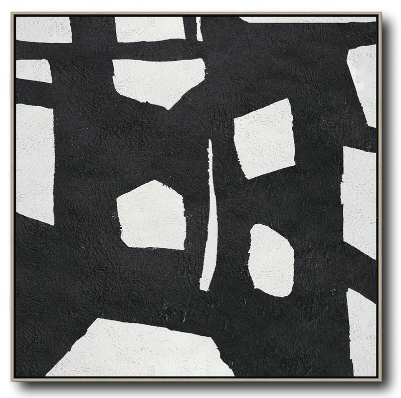 Oversized Minimal Black And White Painting,Contemporary Artwork #D9H6