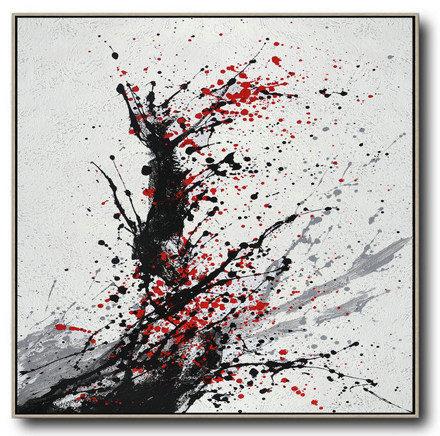 Minimalist Drip Painting On Canvas, Black, White, Grey, Red,Extra Large Wall Art #V2U3