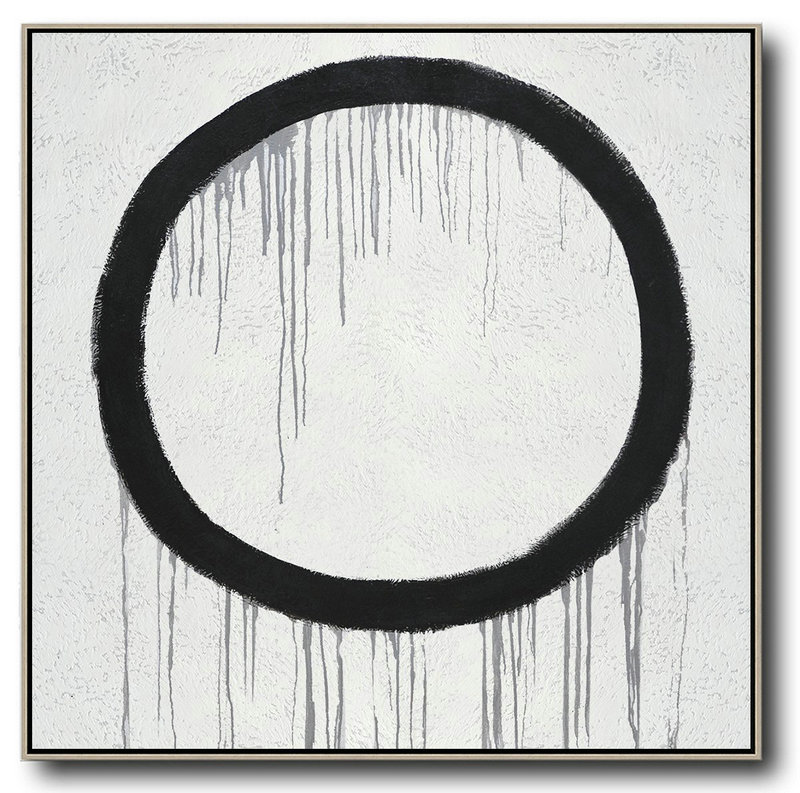 Minimalist Drip Painting On Canvas, Black, White, Grey,Acrylic Painting On Canvas #W9K3