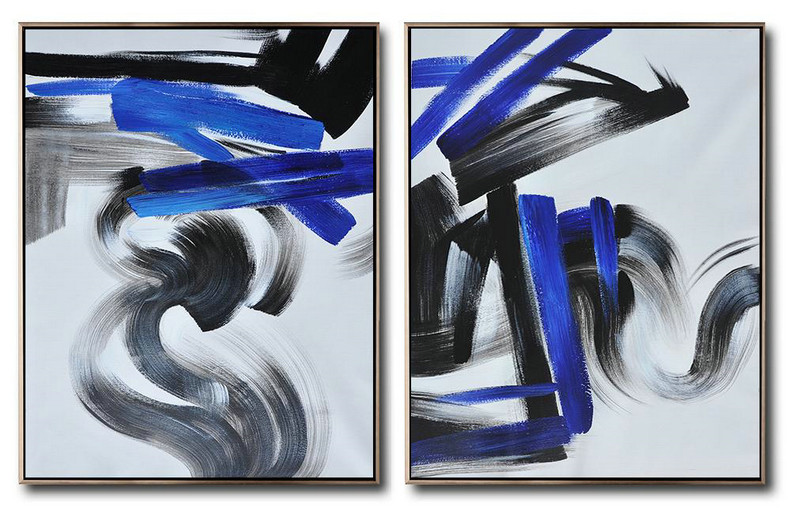 Large Set Of 2 Blue Minimalist Painting On Canvas,Living Room Wall Art #H2X3