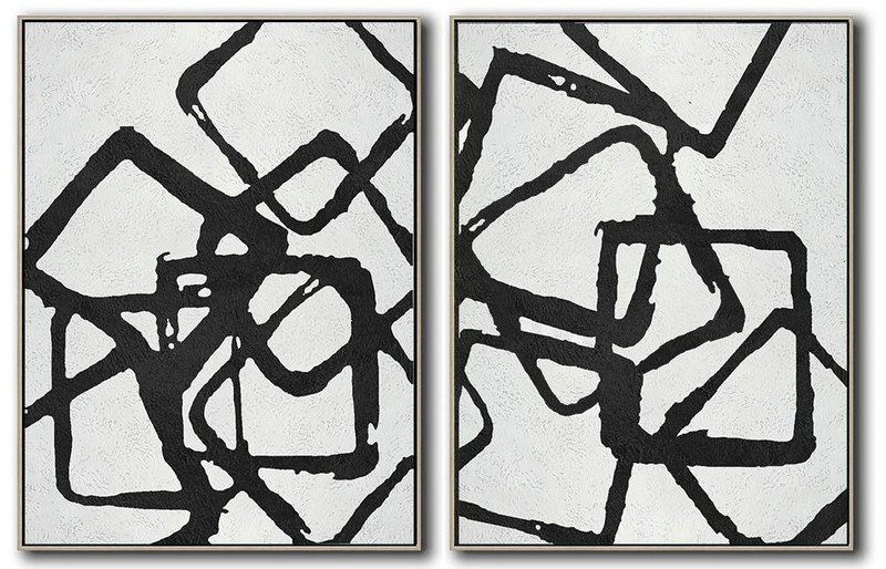 Set Of 2 Minimal Painting On Canvas,Abstract Artwork Online #J1D4