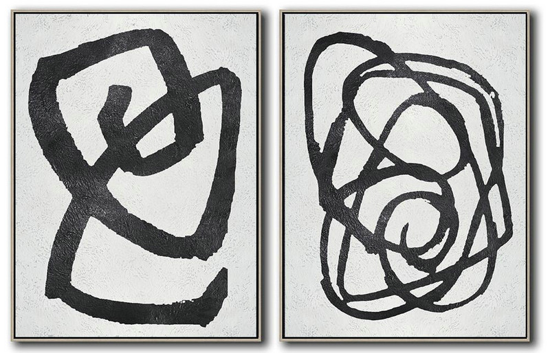 Set Of 2 Minimal Painting On Canvas,Abstract Art Decor #W0Q7
