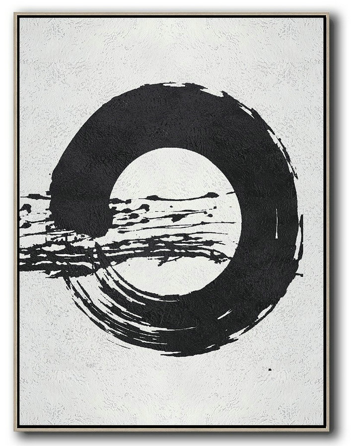 Black And White Minimal Painting On Canvas,Contemporary Artwork #M7M3