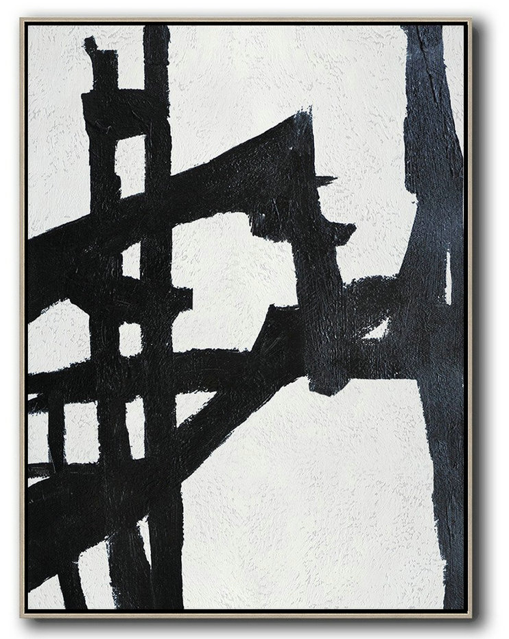 Black And White Minimalist Painting On Canvas,Hand-Painted Canvas Art #Q3K7