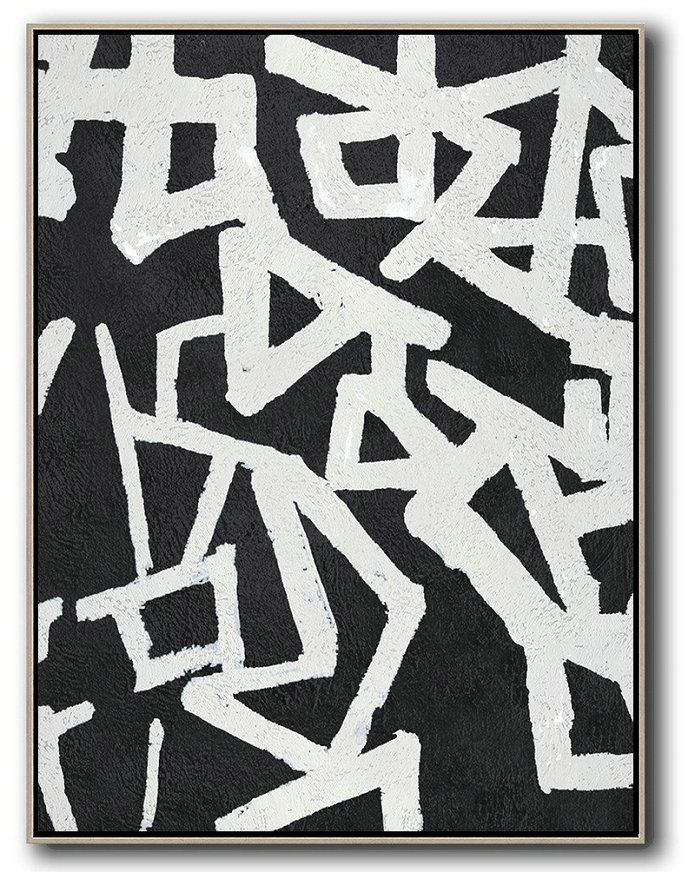 Black And White Minimal Painting On Canvas,Modern Painting Abstract #E8I2
