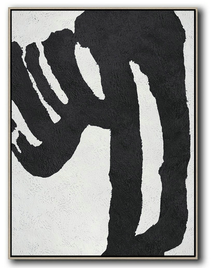 Black And White Minimal Painting On Canvas,Acrylic On Canvas Abstract #U0N6