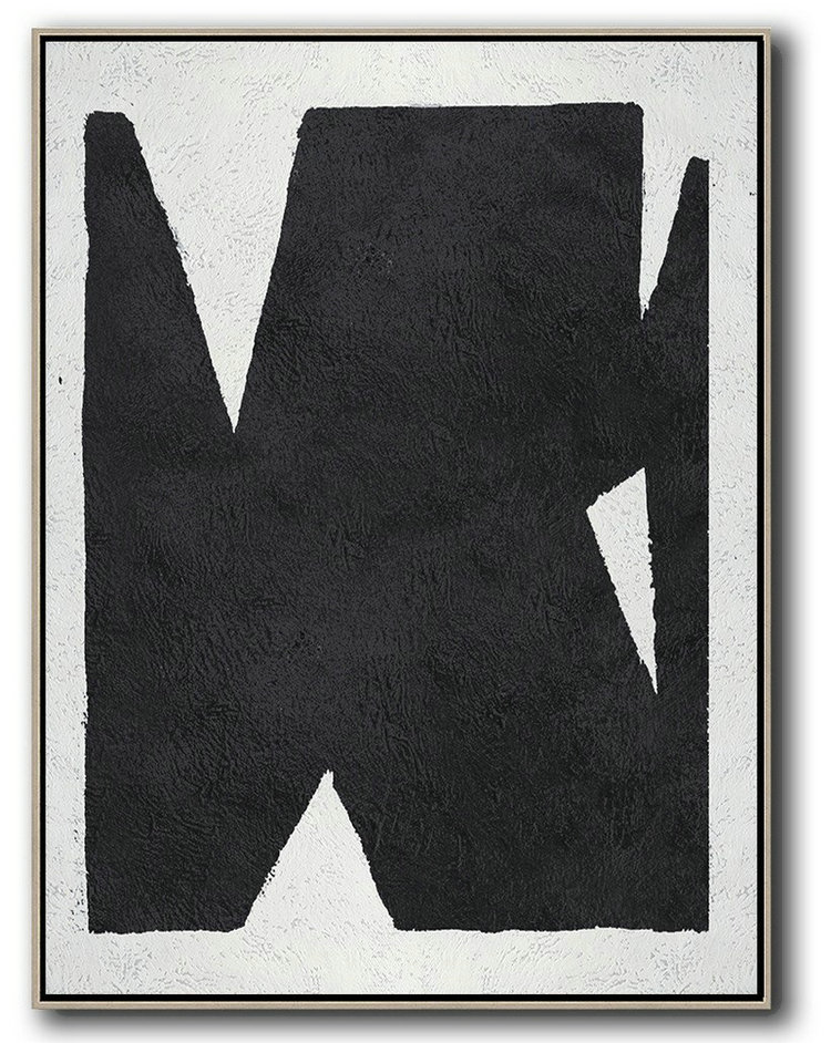 Black And White Minimal Painting On Canvas,Abstract Artwork Online #I2Z9